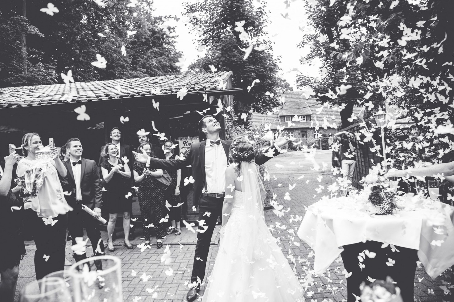 Hochzeit von Tine und Basti in Münster: Bräutigam streckt die Hände nach den Schmertterlingen