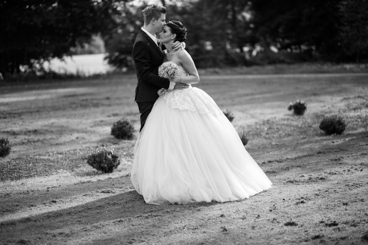 Hochzeit von Tine und Phillip in Münster: Brautpaar steht auf dem Feld
