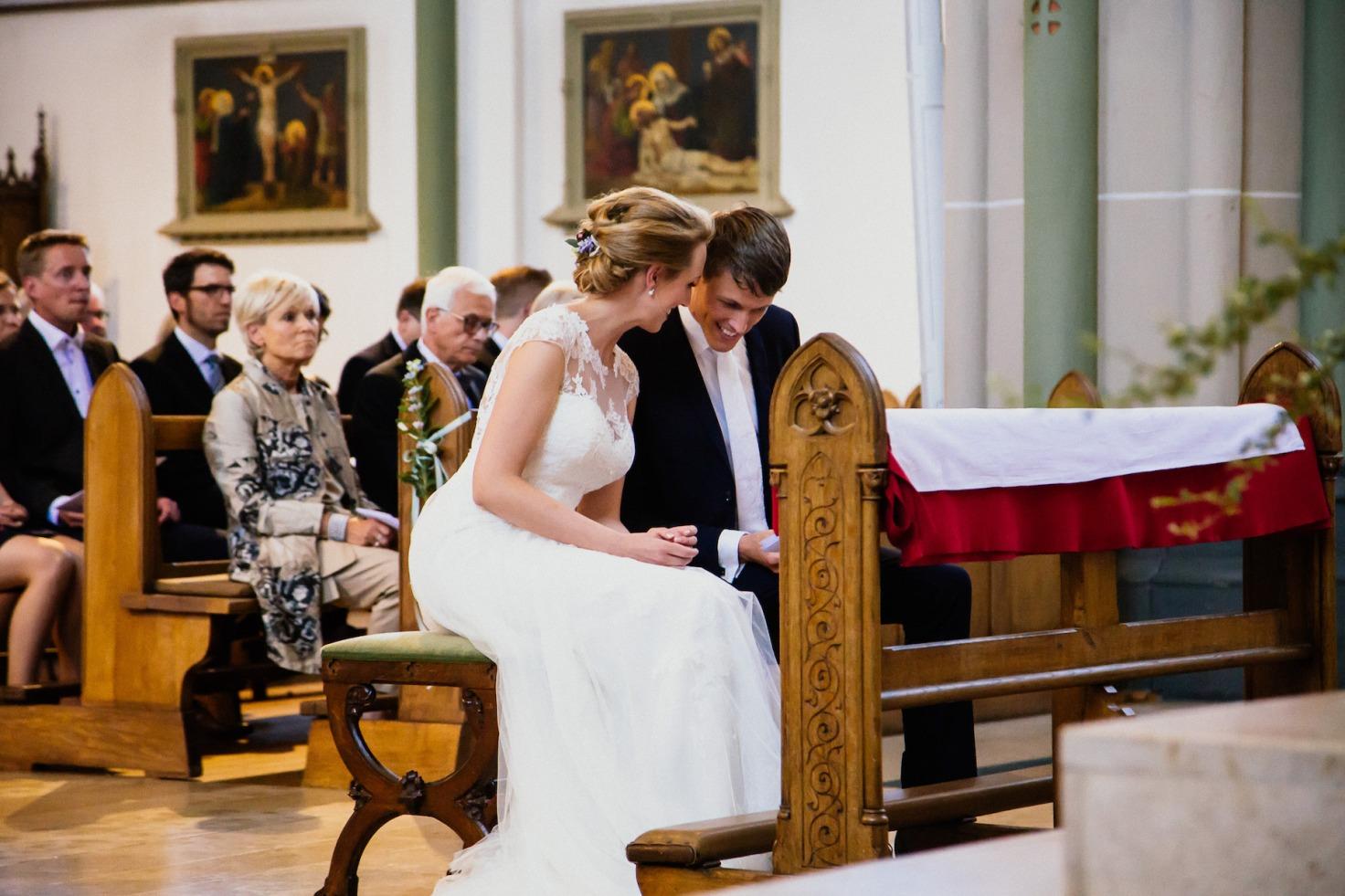 Hochzeit von Tine und Basti in Münster: in der Kirche