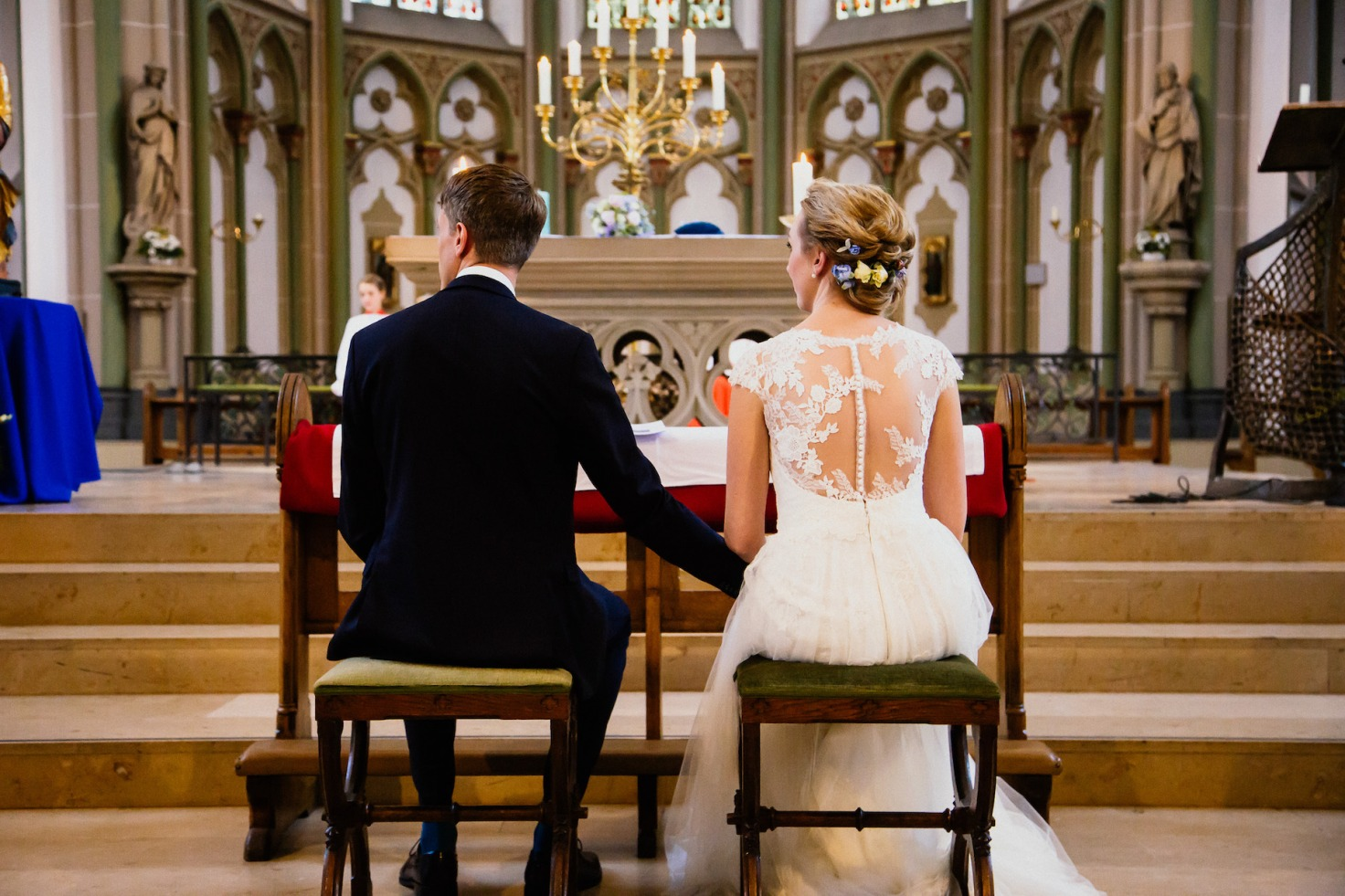 Hochzeit von Tine und Basti in Münster: vor dem Hochzeitsaltar