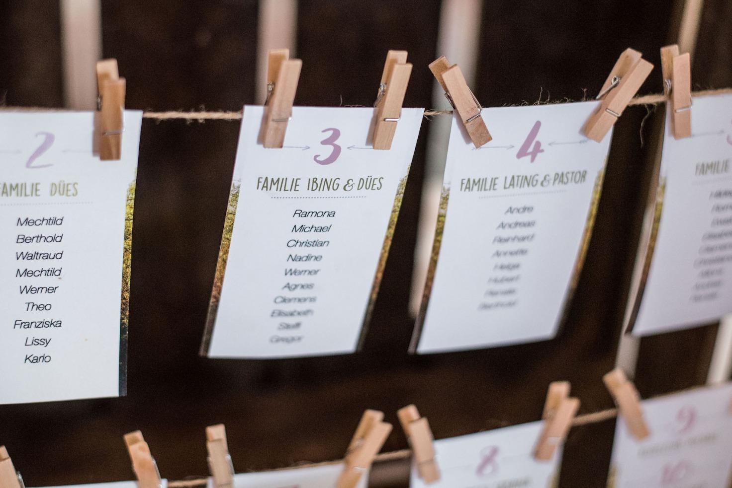 Hochzeit von Sabrina und Michael in Münster: Hängende Tischkarten